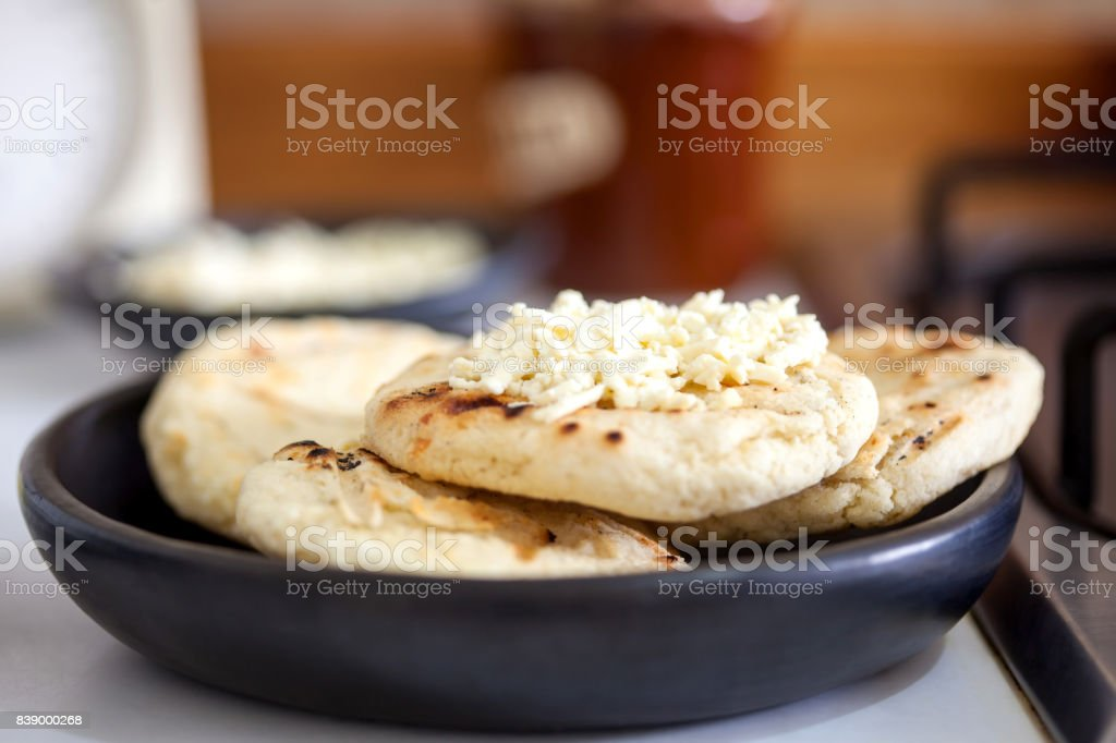 Colombian white corn arepa with cheese stock photo