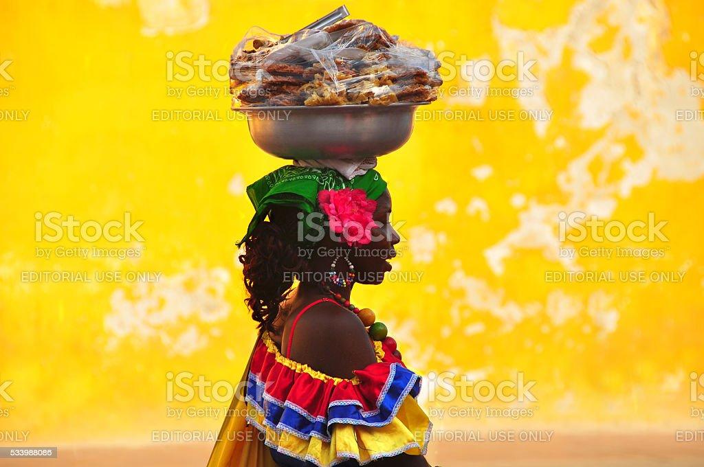 Colombian woman in Cartagena de Indias stock photo