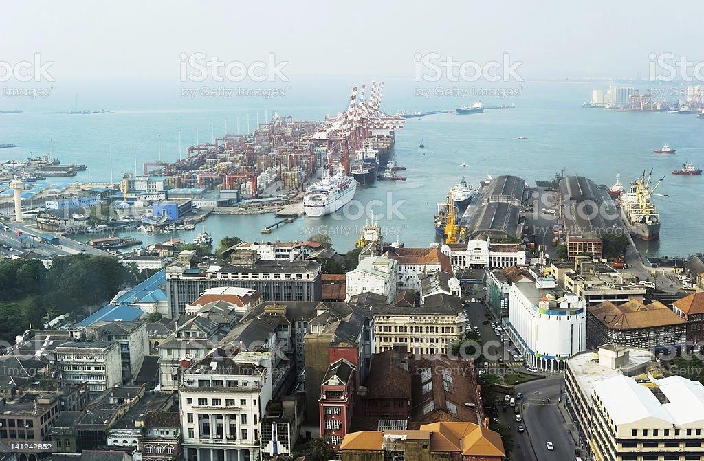 Colombo harbor stock photo