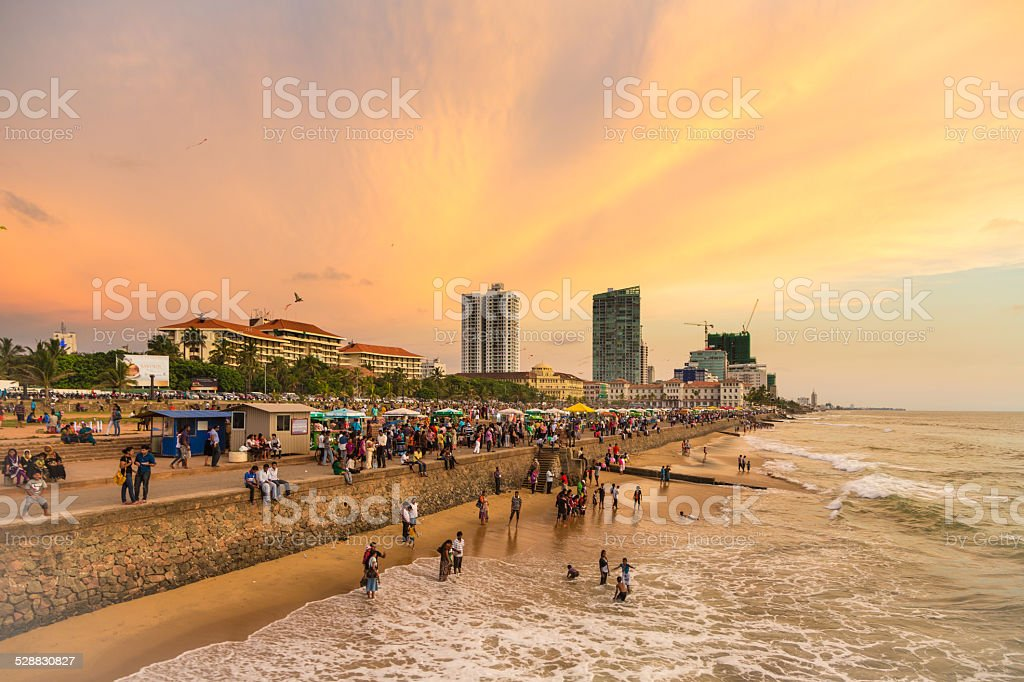 Colombo seafront at sunset stock photo