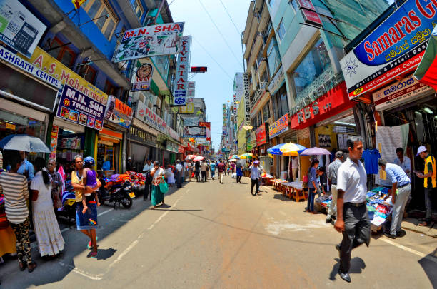 The bustling Pettah Market district in Colombo stock photo