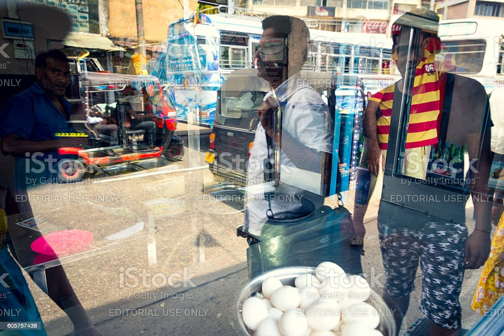 Colombo street market reflection stock photo