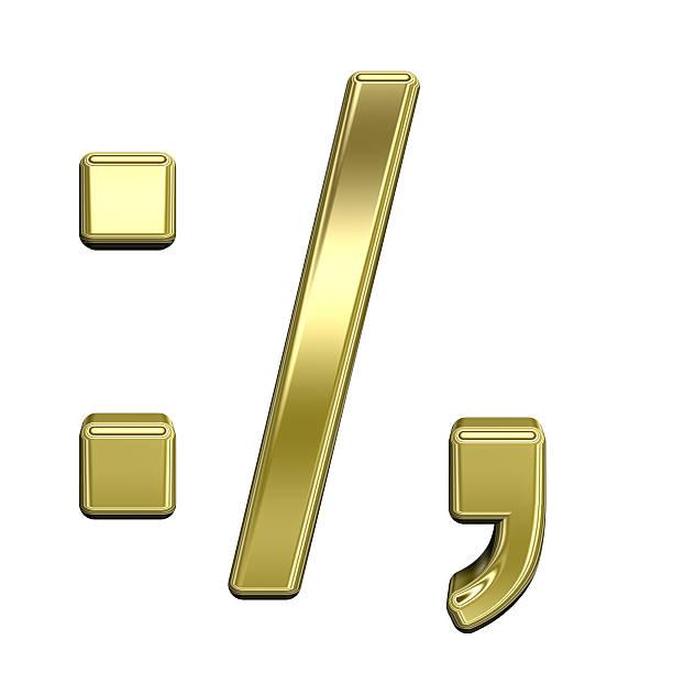 colon, semicolon, punkt, komma aus glänzendem gold alphabet set - komma stock-fotos und bilder