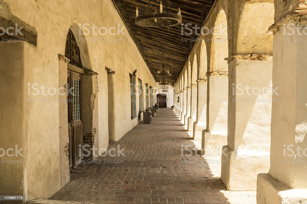 Colonadde at a Spanish Mission royalty-free stock photo