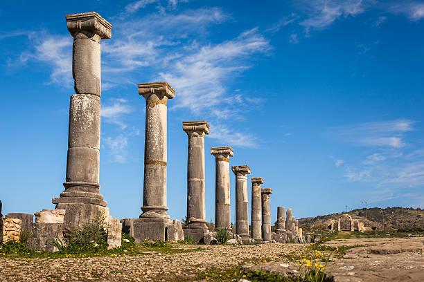 Colonade of Gordiano Palace. Volubilis stock photo