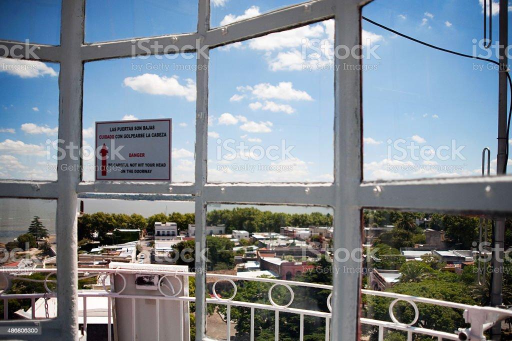 Colonia Del Sacramento's Vista aérea do farol no Uruguai foto royalty-free