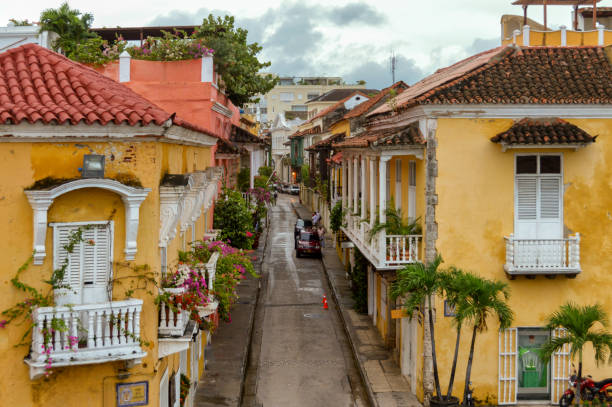 Colonial architecture in Cartagena Colombia stock photo