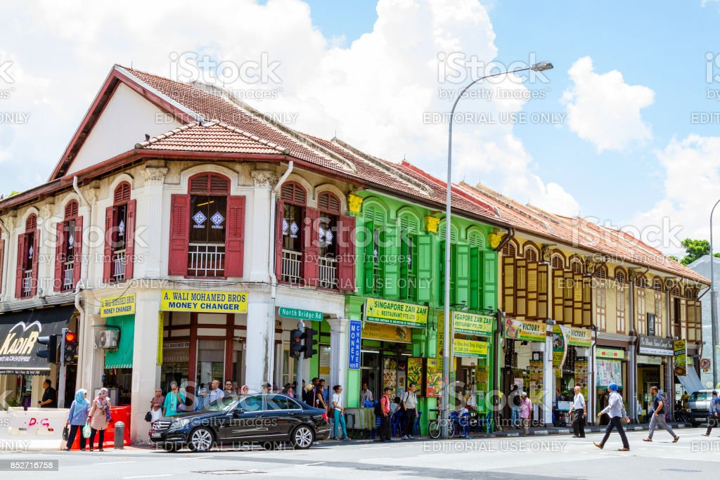 Restored shophouses on North Bridge Road near Arab Street in the...