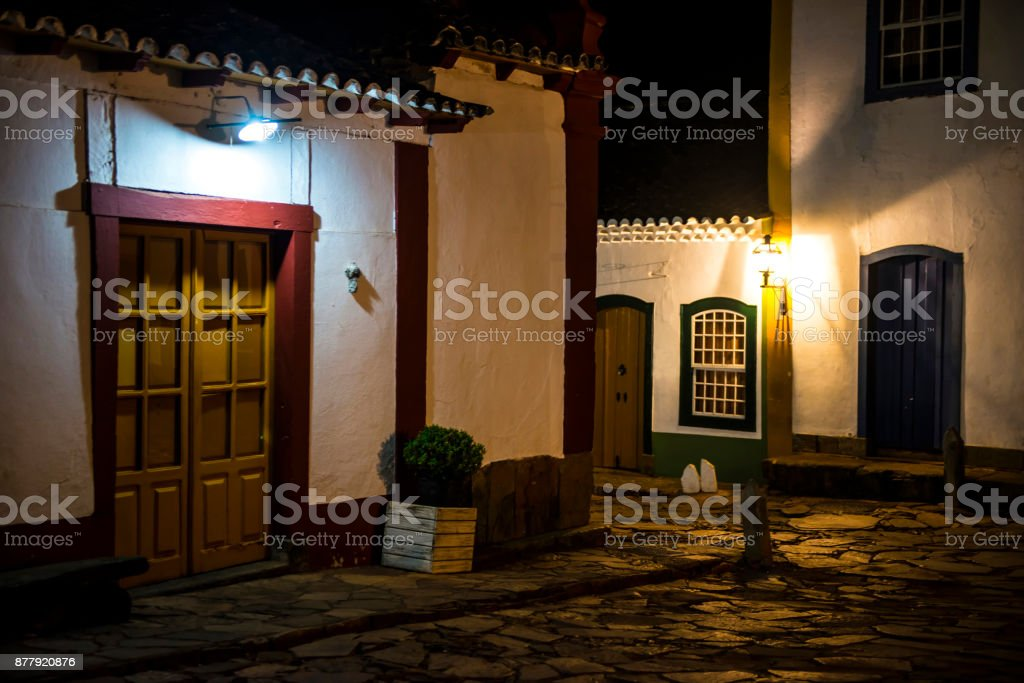 Colonial architecture in the city of Tiradentes, with the streets...