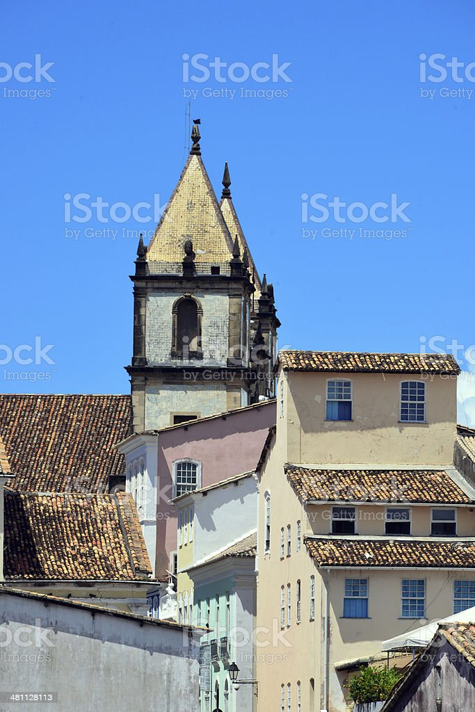 colonial architecture in the old historic centre - Pelourinho - bell...