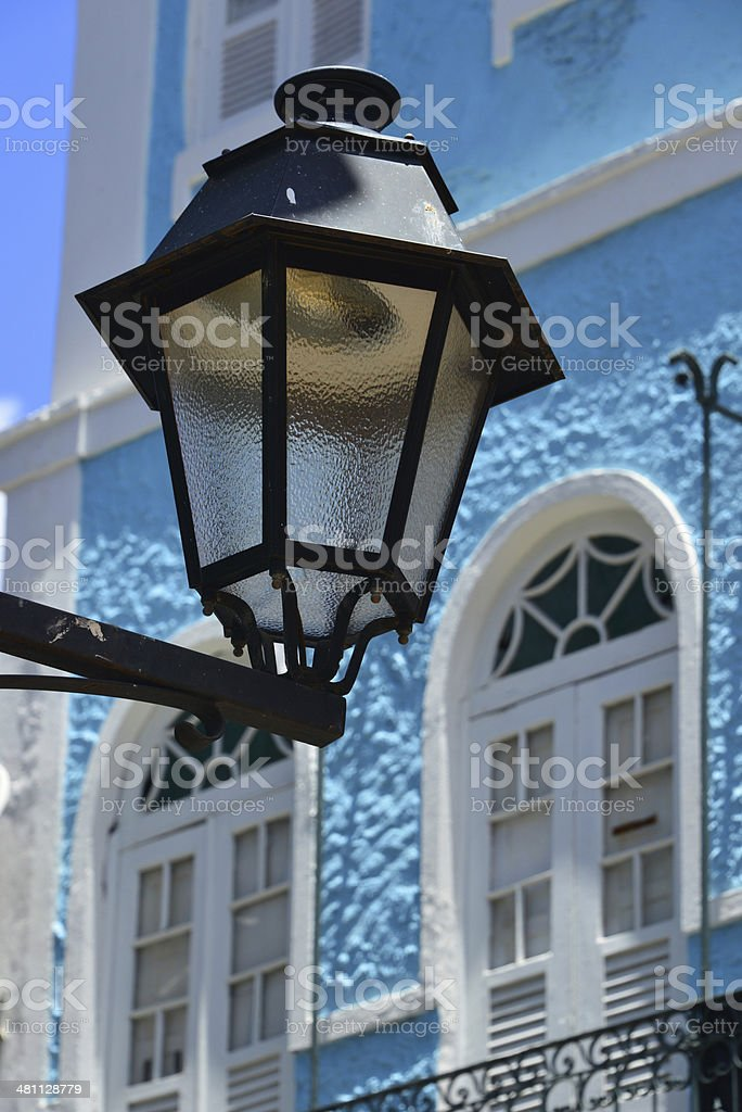street lamp and old facade on Ladeira do Carmo - colonial...