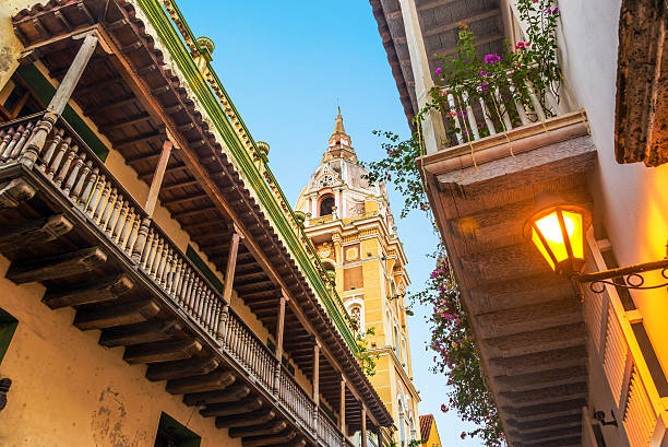 Colonial Balconies and Church stock photo
