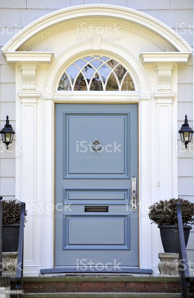 Colonial Blue Door stock photo