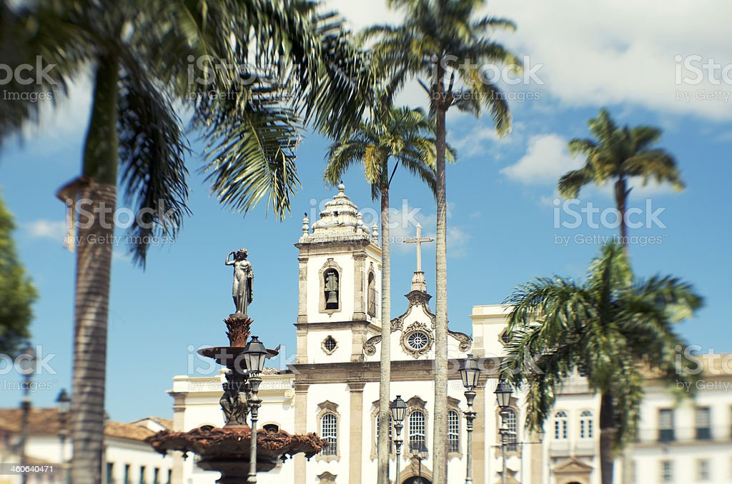Colonial Brazilian Church Salvador Brazil Plaza 15 November royalty-free stock photo