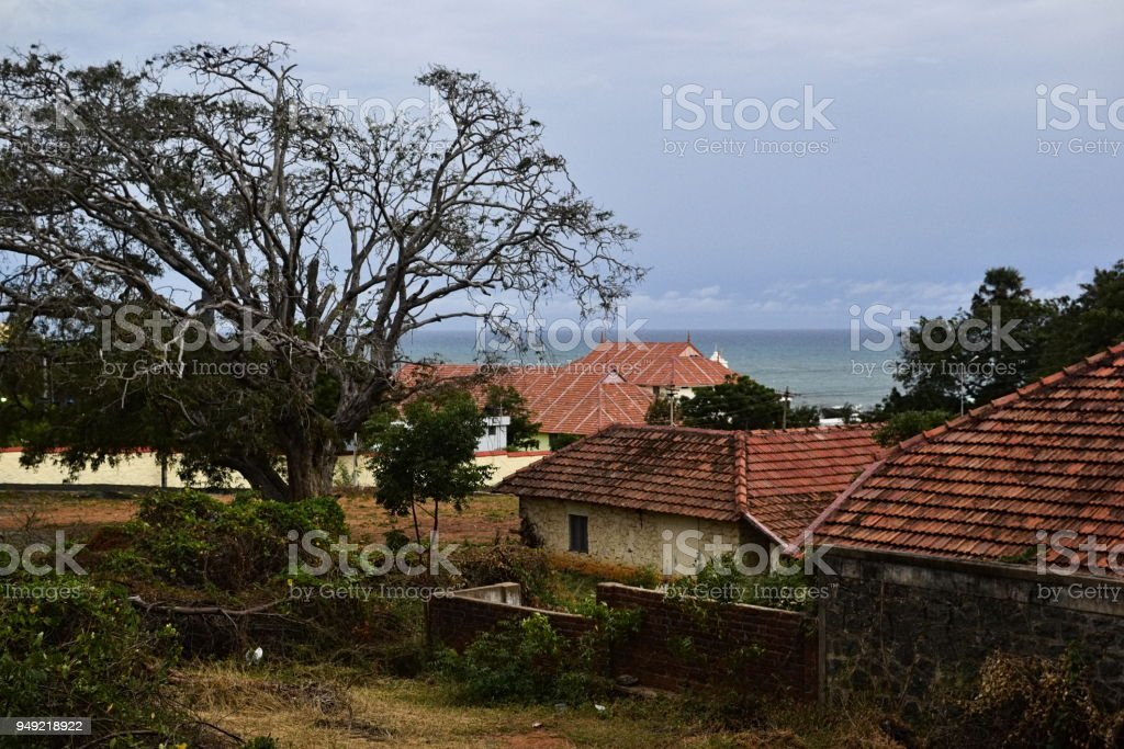 Colonial british houses on coast stock photo