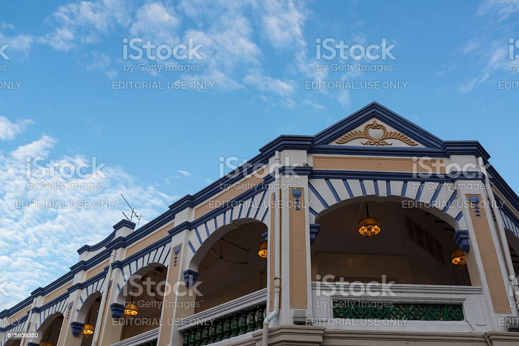Colonial Building Against Blue Sky, Singapore stock photo