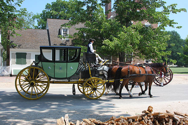 Colonial carriage Colonial carriage at Williamsburg, Virginia colonial style stock pictures, royalty-free photos & images