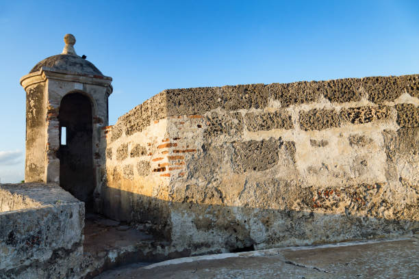colonial cartagena turret - cartagena museum stock photos and pictures