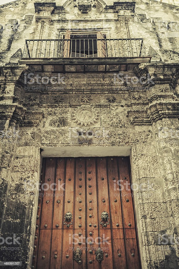 Colonial Catedral in old Havana stock photo