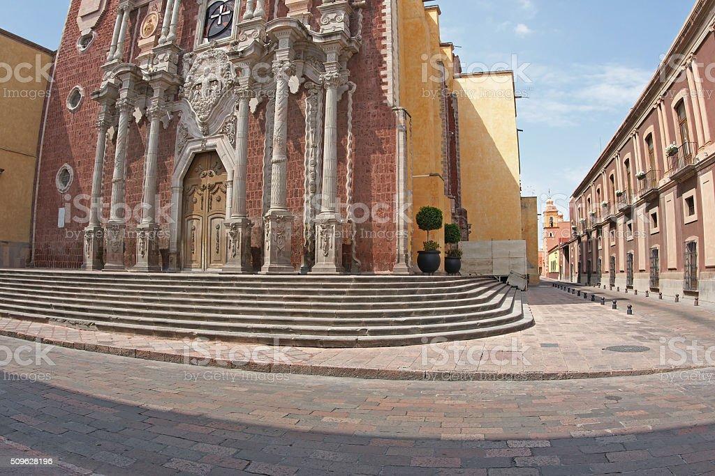Colonial Church in Santiago de Queretaro, Mexico stock photo