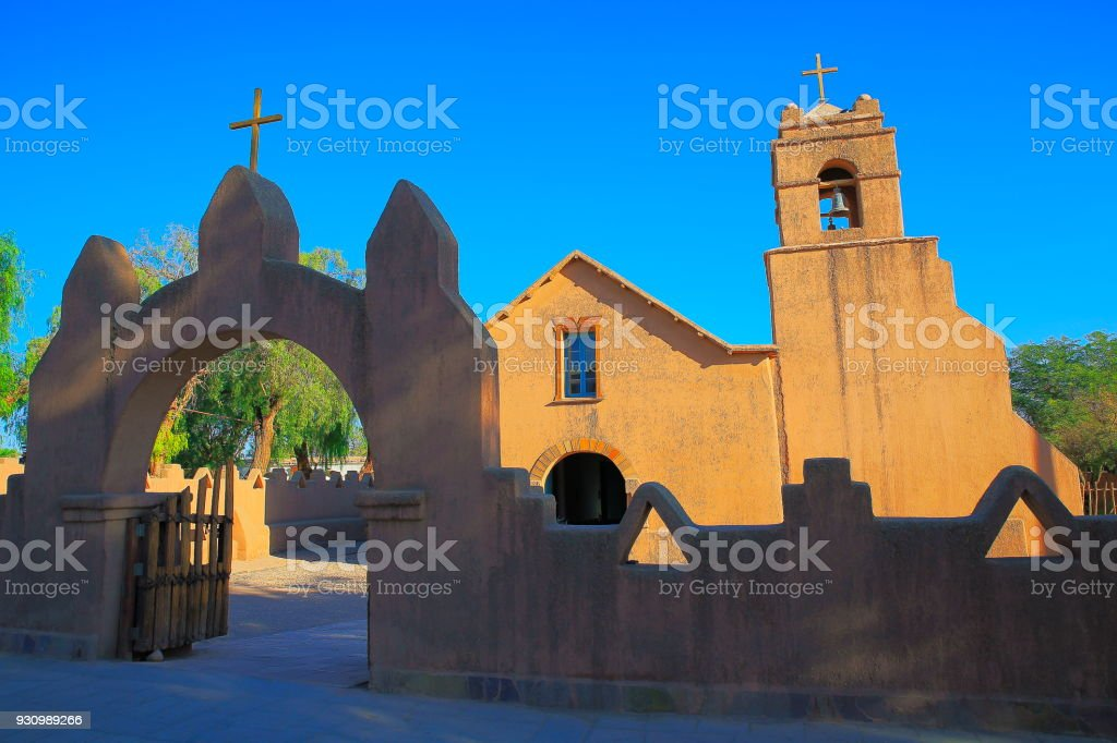 Colonial church in São Pedro de Atacama, Atacama Desert – Chile, South America stock photo