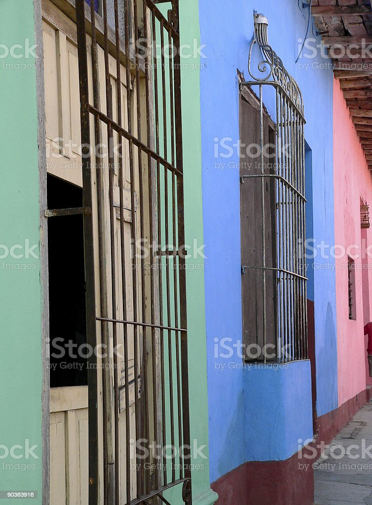 Colonial, colorful houses in Trinidad, Cuba royalty-free stock photo