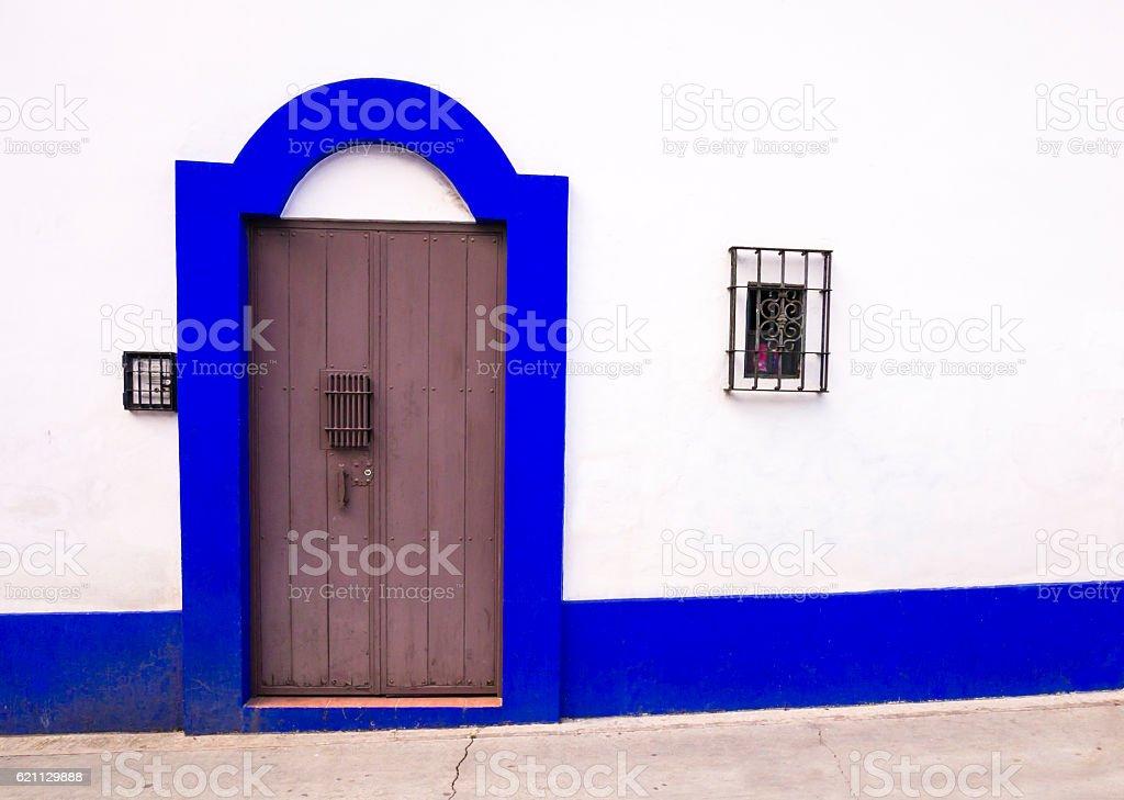 Colonial door in San Cristobal de las Casas, Chiapas, Mexico stock photo
