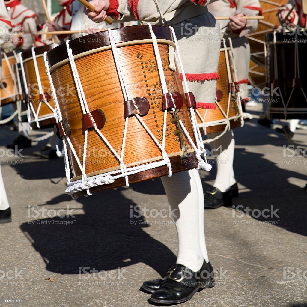 Colonial drummers in a parade in Williamsburg, Virginia stock photo