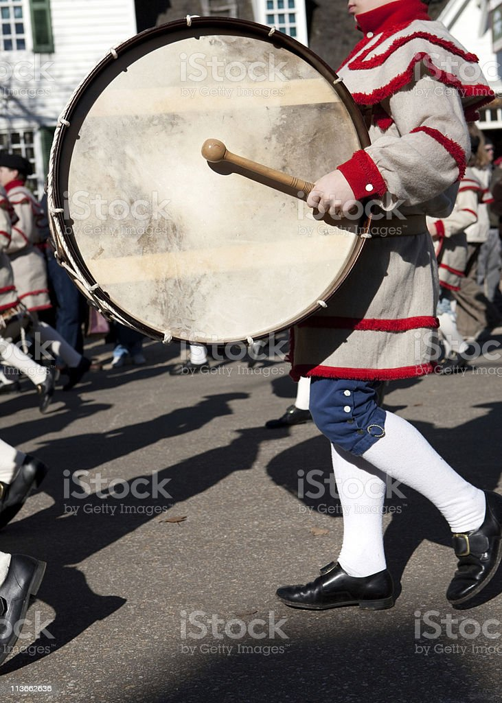 colonial drummers in Williamsburg, Va royalty-free stock photo