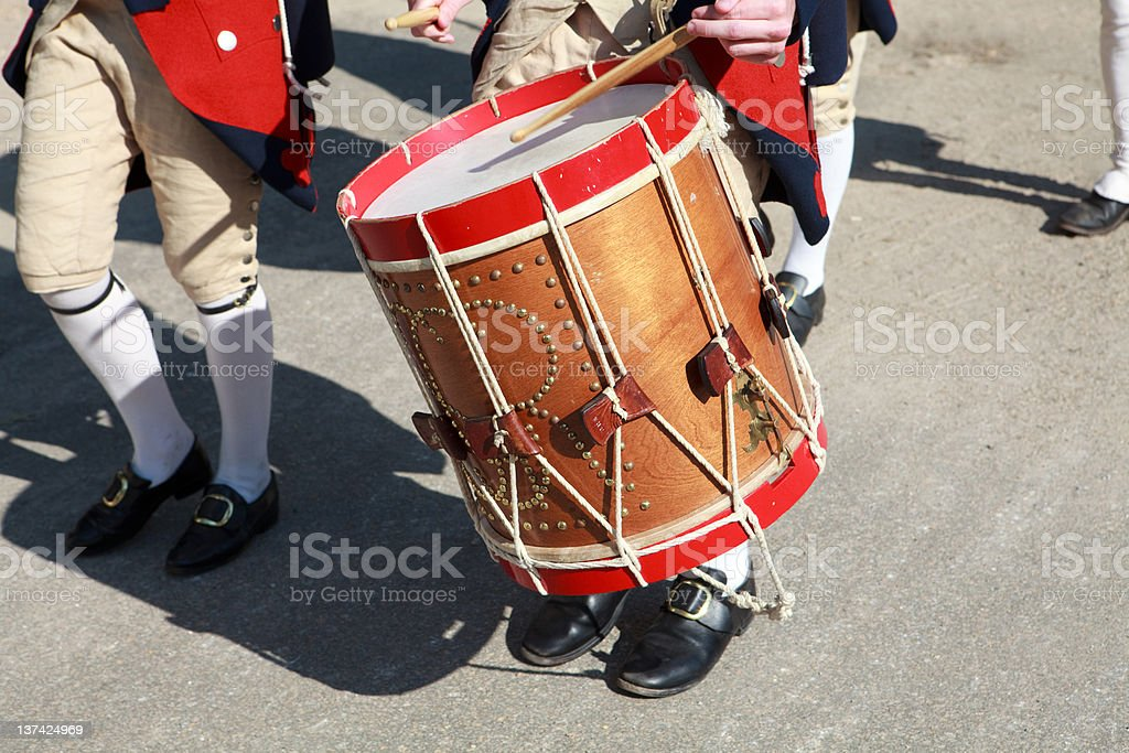 colonial drummers in Williamsburg, Va stock photo