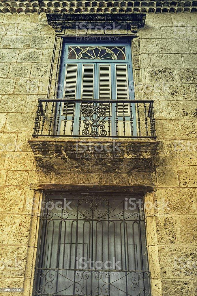 Colonial Facade in old Havana stock photo