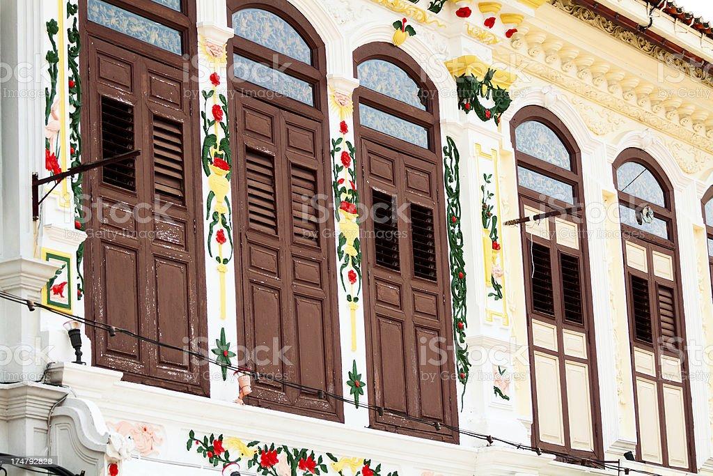 Colonial facades in Melaka royalty-free stock photo