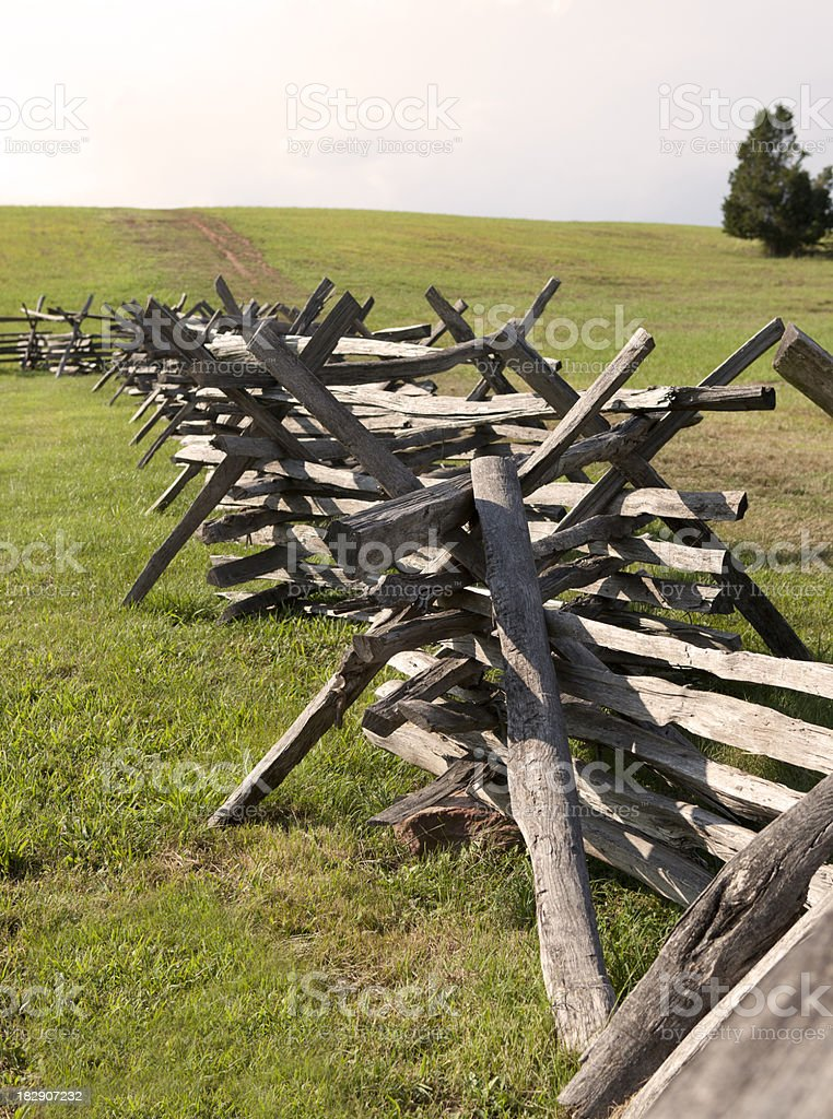 Colonial Fence on Civil War Battlefield stock photo