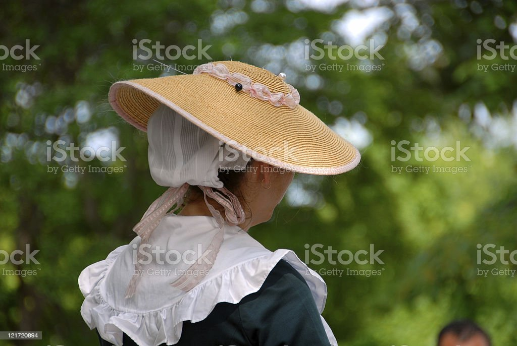 Colonial Hat Lady stock photo
