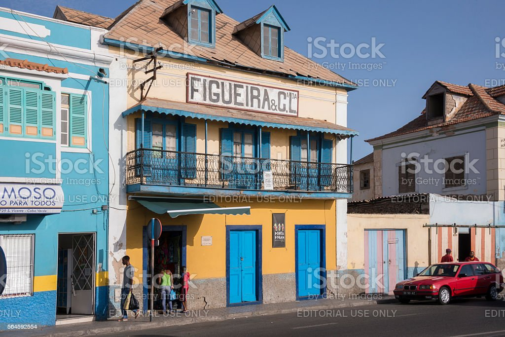 Colonial homes in Mindelo , Cape Verde stock photo
