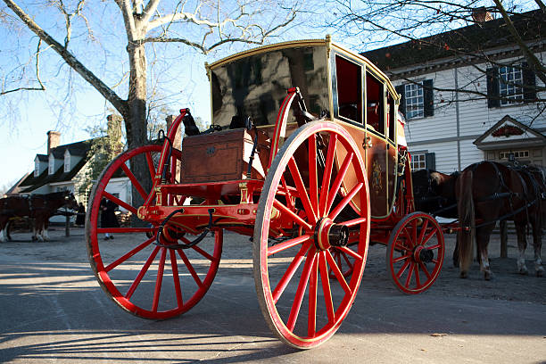 Colonial horse and carriage in Williamsburg, Va stock photo