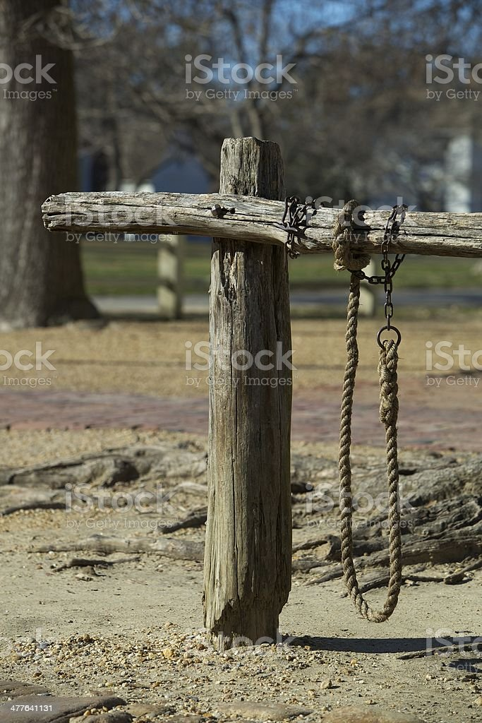 Colonial Horse Hitching Post stock photo
