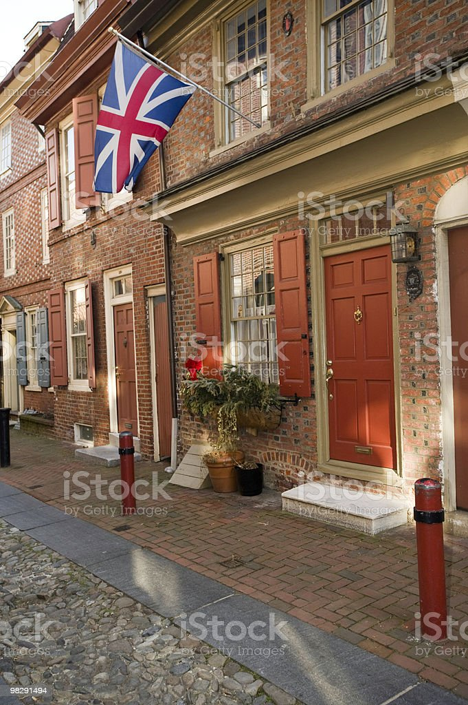 Colonial house in Philadelphia is flying a Union Jack Flag royalty-free stock photo