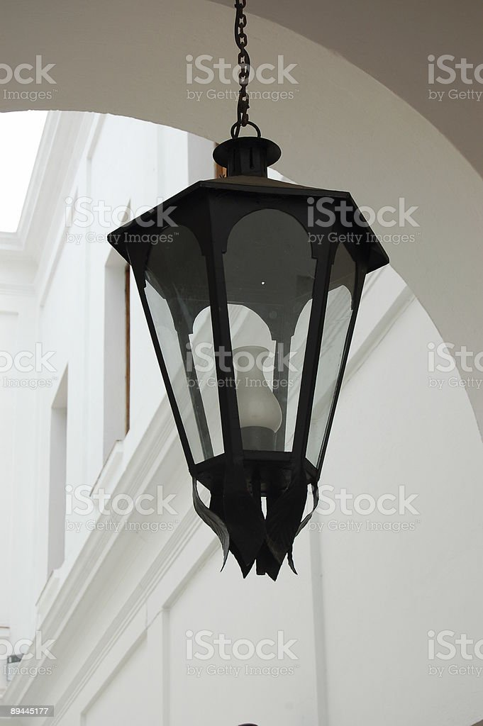 Colonial lantern on archway royalty-free stock photo