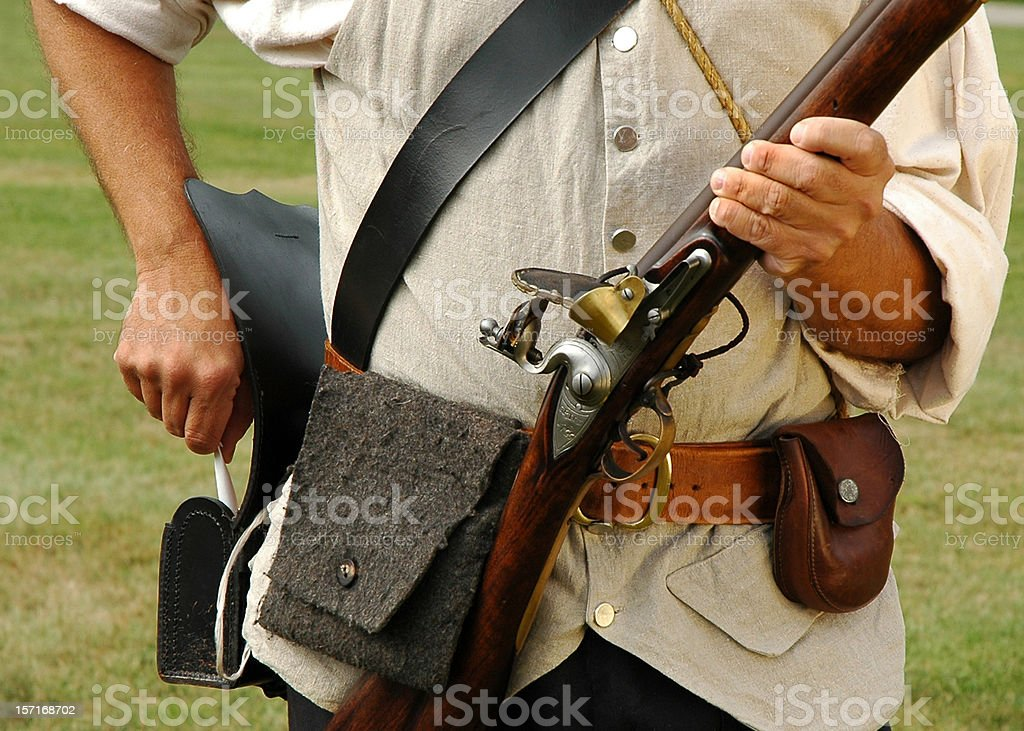 Colonial Military Re-Enactor Prepares Musket stock photo
