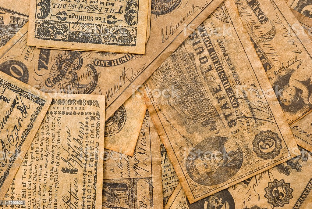 Colonial Money stock photo