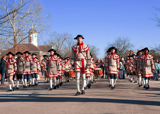 Colonial musicians in Williamsburg, Va stock photo