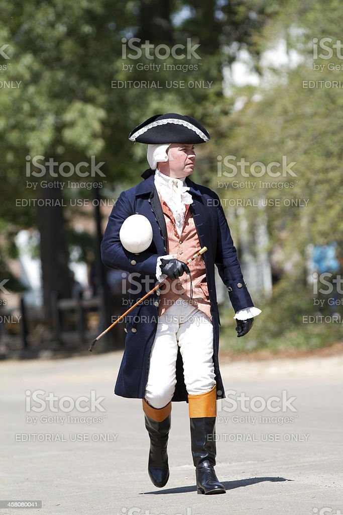 Colonial officer in Williamsburg, Virginia stock photo