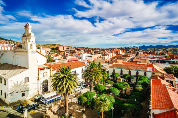 Colonial old town of Sucre in Bolivia stock photo