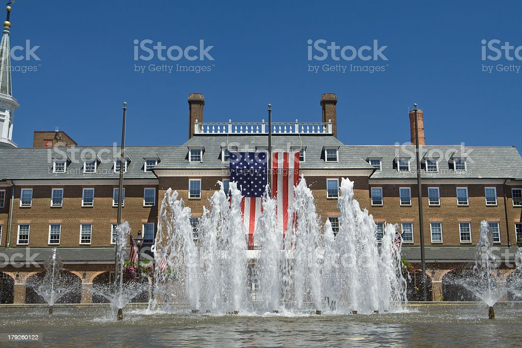 Colonial Revival City Hall Alexandria Virginia American Flag Fountain stock photo
