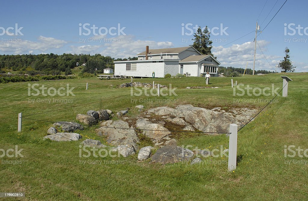 Colonial ruins and museum at Pemaquid in Maine royalty-free stock photo