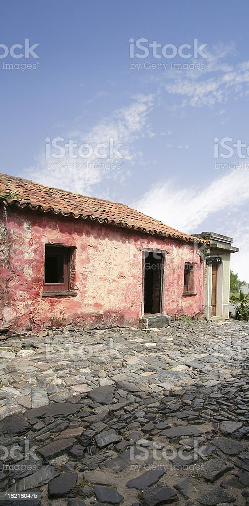 Colonial squalid red house royalty-free stock photo