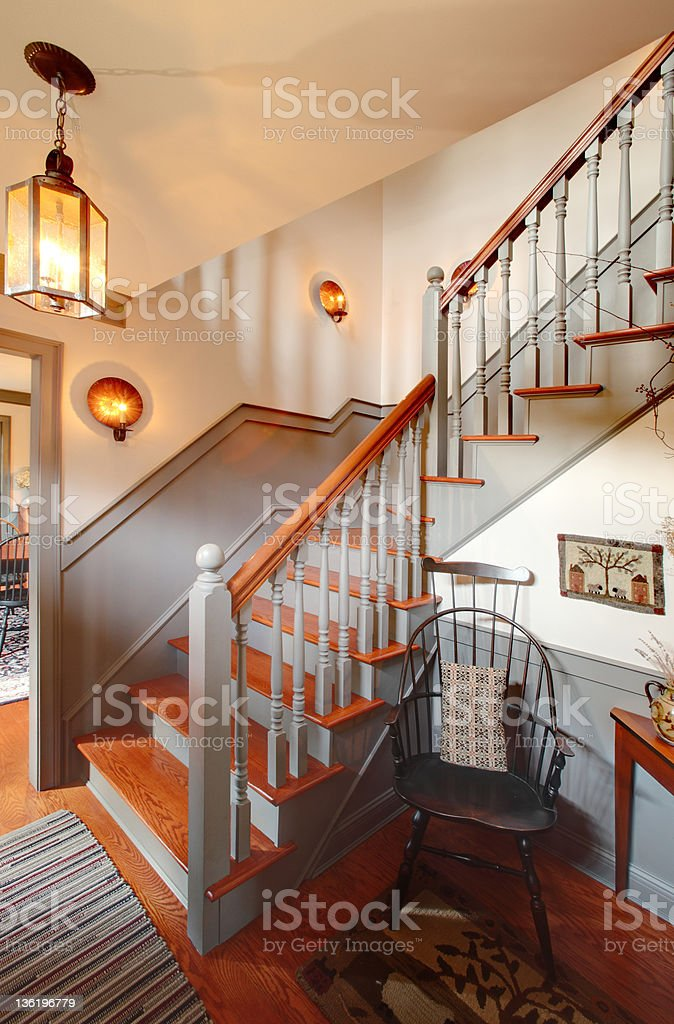 Colonial stairway stock photo