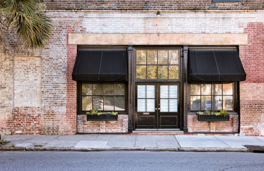 istock Colonial Storefront with awnings 155355090