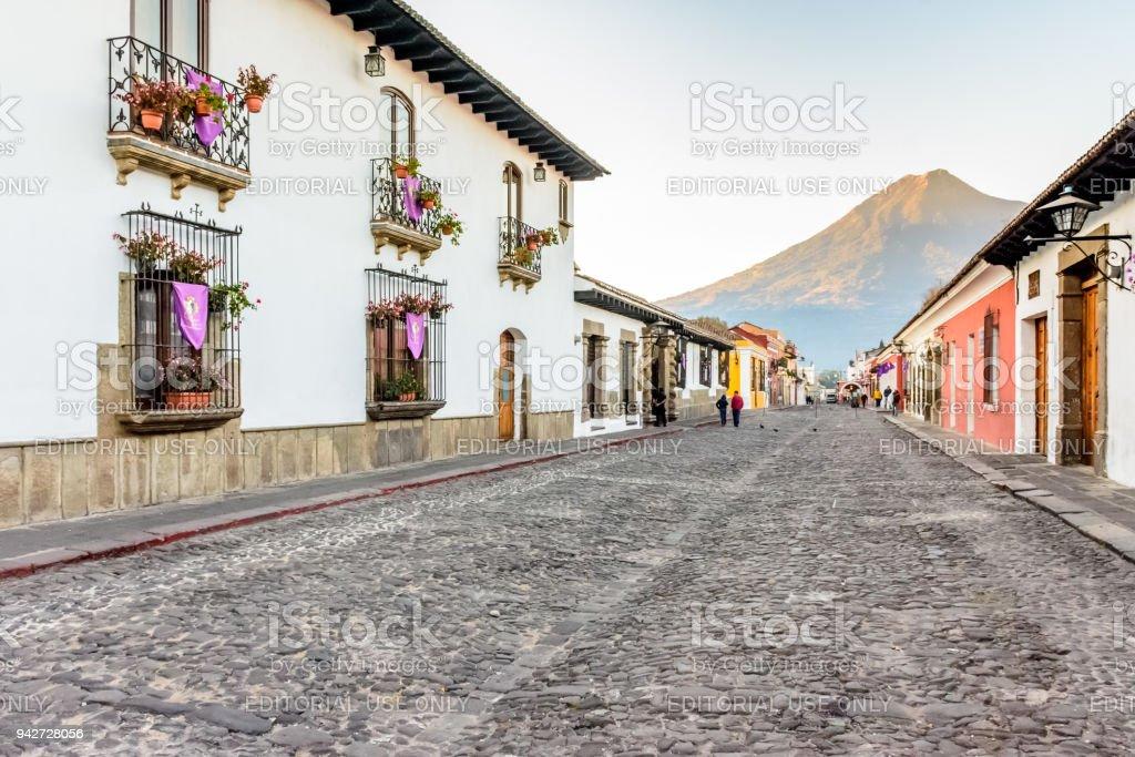 Colonial street & Agua volcano, Antigua, Guatemala stock photo